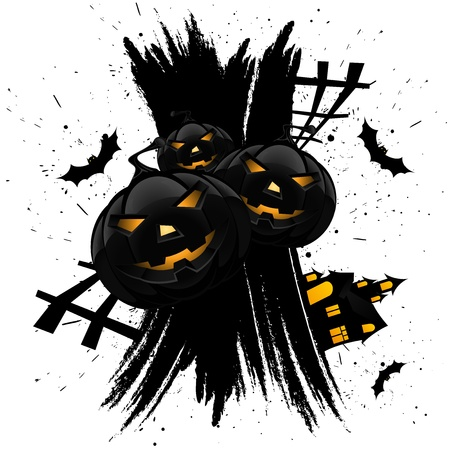 Grungy Halloween background with pumpkins  bats and house isolated on white Иллюстрация