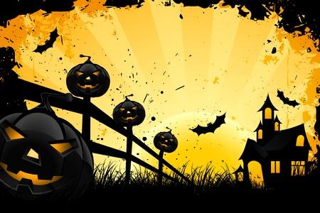Grungy Halloween achtergrond met pompoenen vleermuizen huis en volle maan
