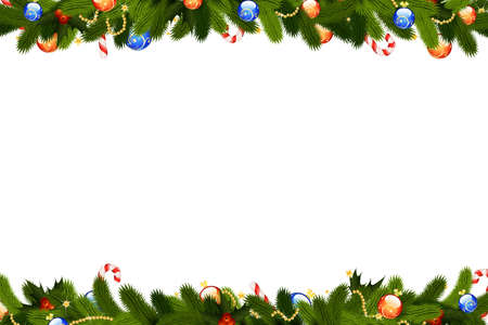 Christmas frame with fir-tree decoration and mistletoe isolated on white backgrond