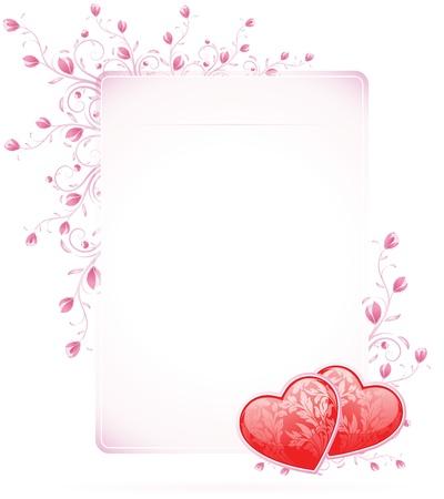 Valentines Day Card mit Blumen auf weißem Hintergrund