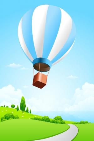 Paysage vert avec la mer et de ballon à air chaud Vecteurs
