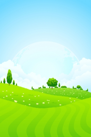 Green Background with Grass Trees Clouds and Moon in the Sky