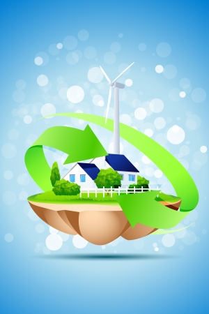 Ecology Concept Background with House and Wind Power Station Illustration