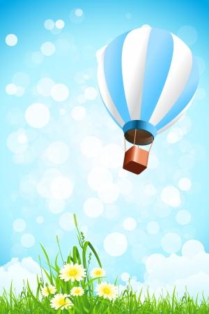 Blumen im Gras und Hot Air Balloon in den Himmel mit Wolken und Schein