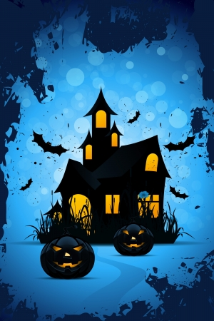Halloween Background with Bats Pumpkins and Haunted House