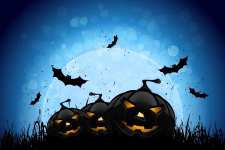 Fiesta de Halloween Fondo con las calabazas en la hierba Los murciélagos y la Luna en la parte posterior
