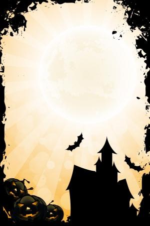 Grungy Halloween achtergrond met pompoen Stralen en Haunted House