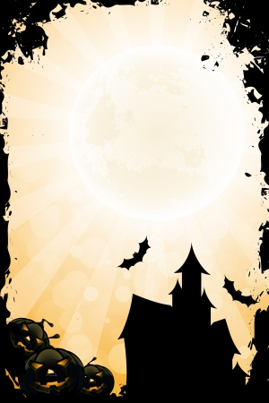 Grungy Halloween Background with Pumpkin Rays and Haunted House