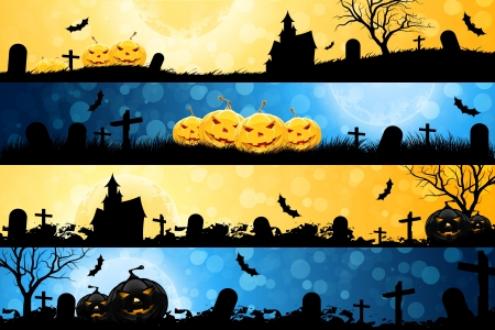 Four Halloween Banners with Pumpkins, House, Tree and Graves
