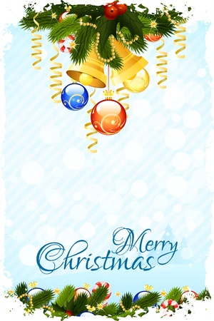 Christmas Card Template with fir-tree mistletoe decoration and bells Vector
