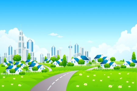 Green Landscape with road, grass, City and Small Villarge