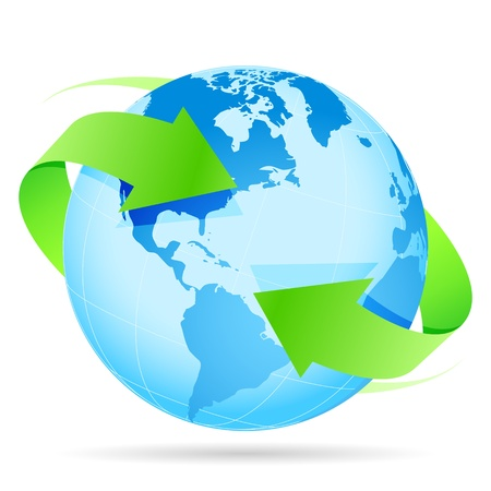 Icon Blue Planet Earth and Green Arrow Illustration