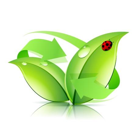 화살표와 무당 벌레 로고 자연 재활용