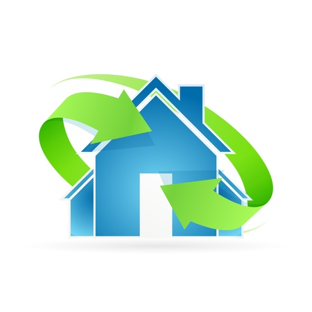 Huis pictogram met groene pijlen Stockfoto - 18504711