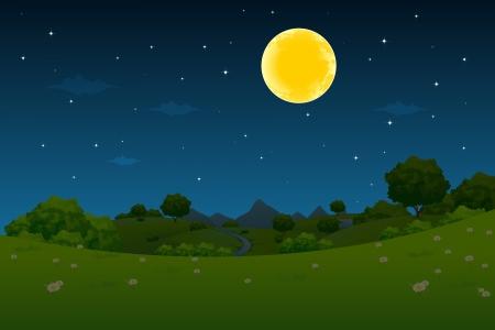 月と星の夜の風景