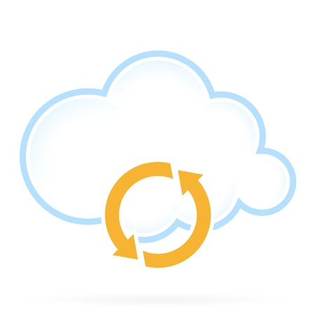 Cloud Computing Technology Icon with Conversion Sign Ilustração