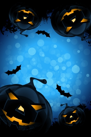 Grunge Background for Halloween Party with Pumpkins and Bats Stock Vector - 20631776