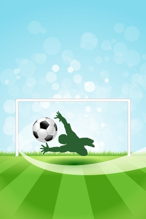 Soccer Background with Goalkeeper and Ball.