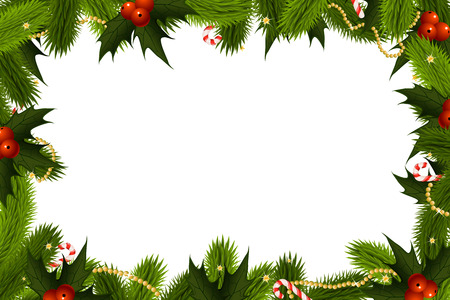 Christmas Frame Template with fir mistletoe and decoration Ilustracja