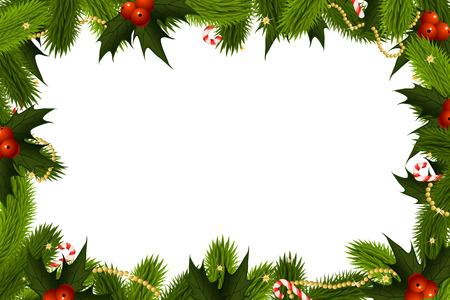 Kerst Frame Template met fir maretak en decoratie