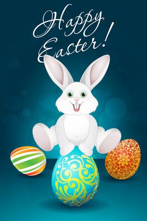 Fondo de Pascua con los huevos y el conejo Foto de archivo - 26045394