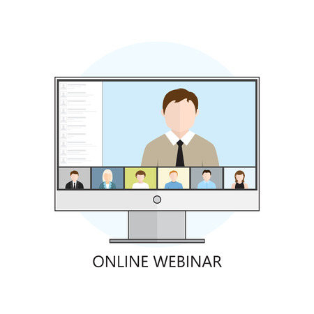 Flat design colorful vector illustration concept for webinar, online learning, professional lectures in internet. Isolated on white background Vectores