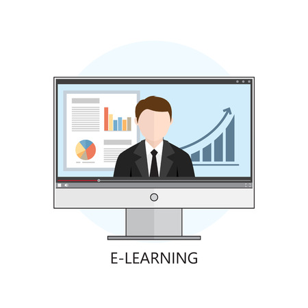 Flat design colorful vector illustration concept for webinar, online learning, professional lectures in internet. Isolated on white background  イラスト・ベクター素材