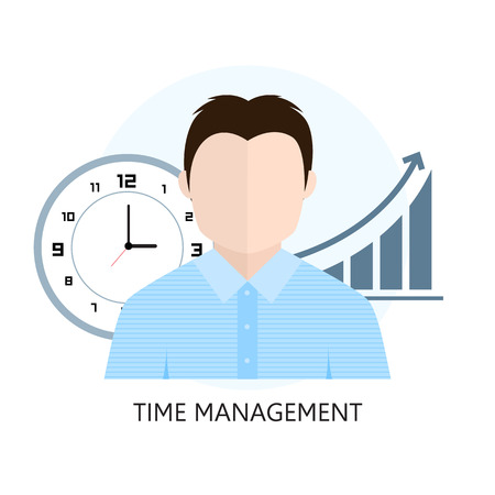 Flat design colorful vector illustration concept for time management. Isolated on white background