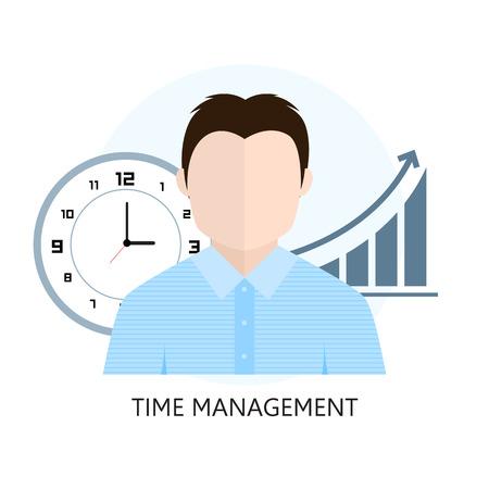 Platte ontwerp kleurrijke vectorillustratie concept voor time management. Geïsoleerd op witte achtergrond