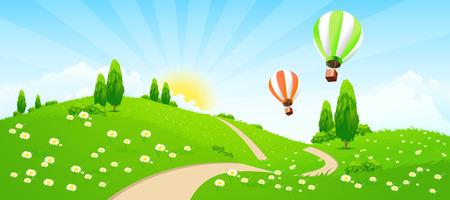 Paisaje verde con la carretera, flores, árboles y Hot-aire-globos