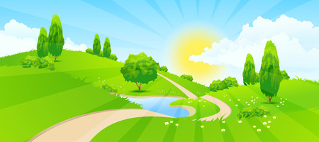 Paisaje verde con colinas, árboles, nubes, Lago, Sol y carretera