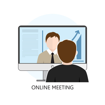 Flat design colorful vector illustration concept for online meeting, online learning, professional lectures in internet. Isolated on white background