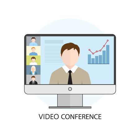 Diseño plano colorida ilustración vectorial concepto de videoconferencia, aprendizaje en línea, conferencias profesionales en internet. Aislado en el fondo blanco