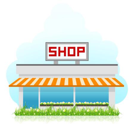 Winkelgebouw met groen gras Stock Illustratie