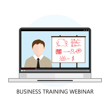 Business Training Webinar Icon Flat Design Concept Isolated on White