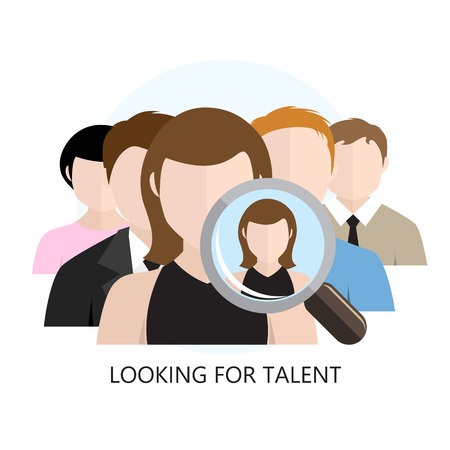Buscando Talento Icono Piso Diseño aislado en blanco Foto de archivo - 41221135