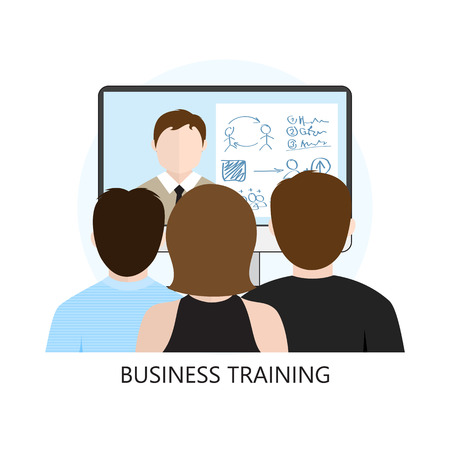 Business Training Icon Flat Design Concept Isolated on White