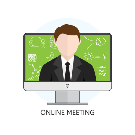 Flat design Colorful Vector Illustration Concept for Online Meeting, Online Learning, Professional Lectures in Internet
