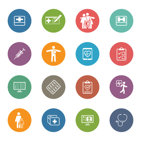 Medical & Health Care Icons Set. Flat Design. Isolated.