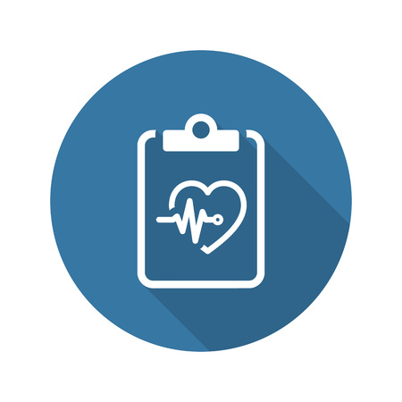 Heart Care Program and Medical Services Icon. Flat Design. Isolated. Long Shadow.