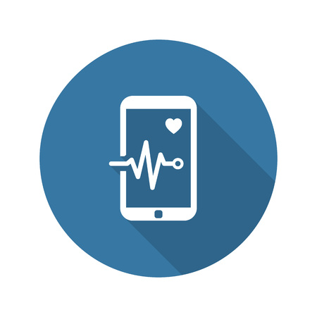 Mobile Monitoring and Medical Services Icon. Flat Design. Isolated. Long Shadow.  イラスト・ベクター素材