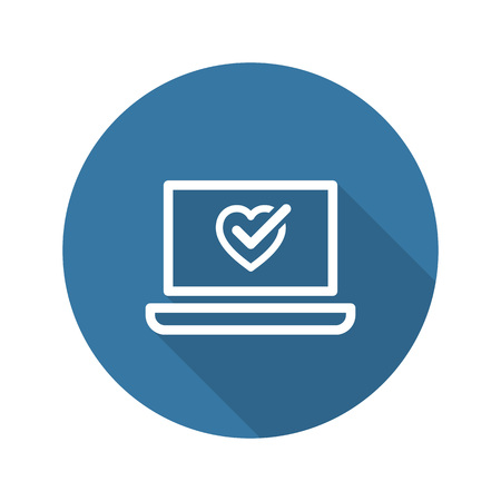 Online Health Tests and Medical Services Icon. Flat Design. Isolated. Long Shadow.