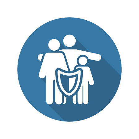 Family Insurance Solutions and Services Icon. Flat Design. Isolated. Long Shadow.