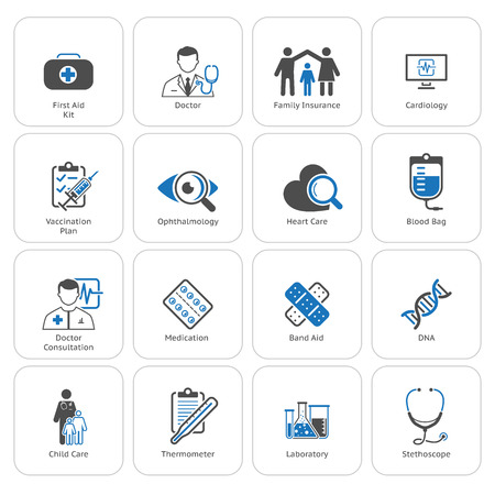 Medical and Health Care Icons Set. Flat Design. Isolated. Çizim