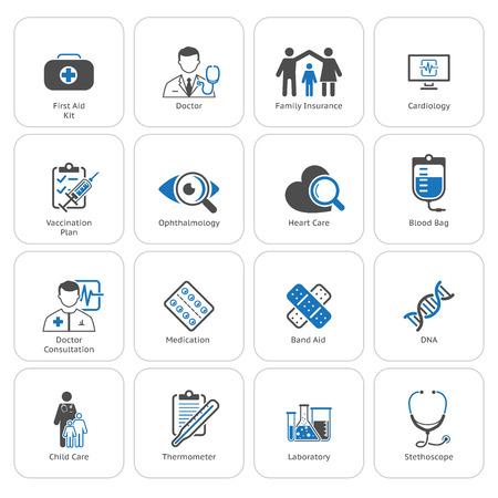 Medische en gezondheidszorg Icons Set. Flat Design. Geïsoleerd. Stockfoto - 44360362