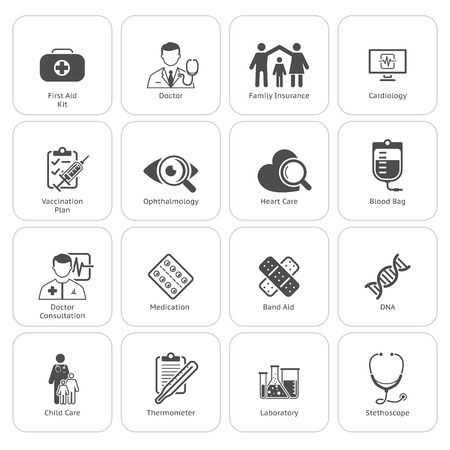 Medical and Health Care Icons Set. Flat Design. Isolated. Stock Illustratie