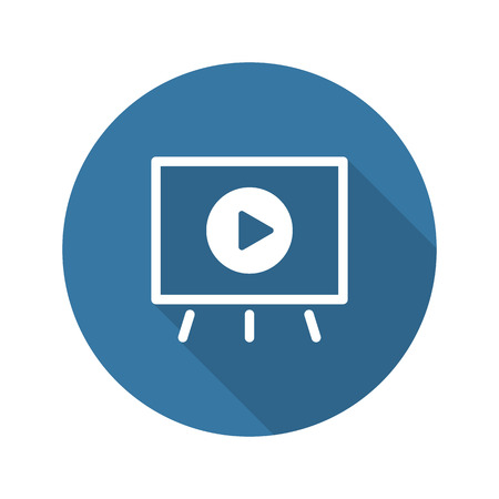 Video Presentation Icon. Business Concept. Flat Design. Long Shadow.  Isolated Illustration. Vectores