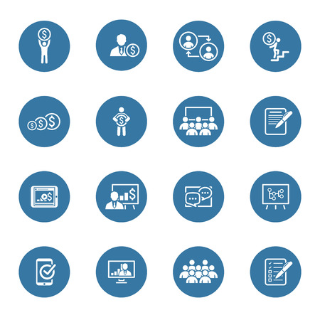Business Coaching Icon Set. Online Learning. Flat Design. Isolated Illustration. Vettoriali