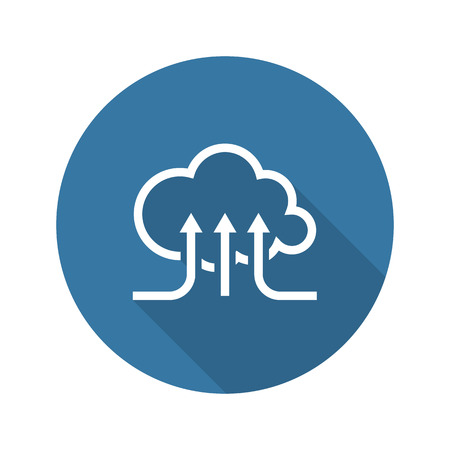 Online Cloud Services. Flat Design Icon. Long Shadow. Isolated Illustration.