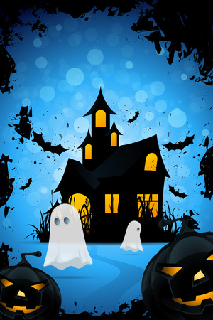 Halloween Background with Haunted House, Pumpkins, Bats and Ghosts